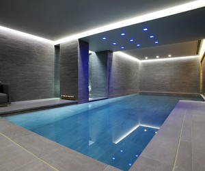 swimming pool, modern style, and interior style image