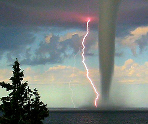 tornado, sky, and lightning image