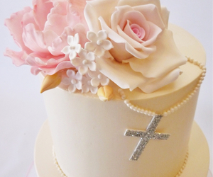 cake, florals, and pink image