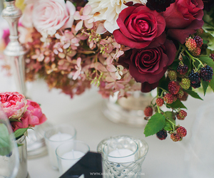 flowers, raspberries, and roses image