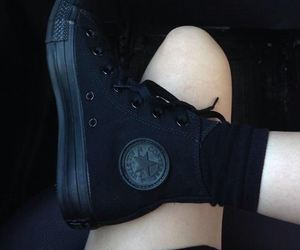 black, converse all star, and dark image