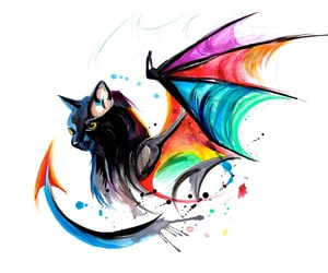 cat, art, and dragon image