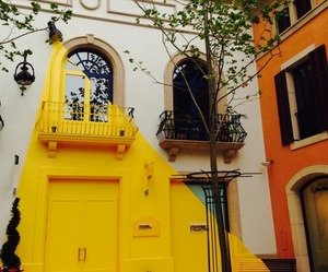 house, yellow, and place image