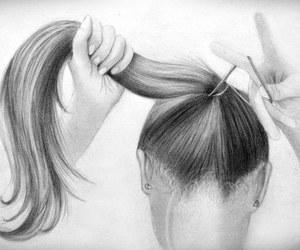beautiful, drawing, and hair image