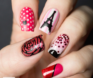 nails, paris, and pink image