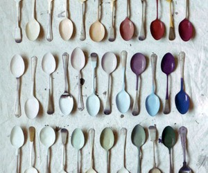 color, rainbow, and spoons image