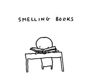?, smelling, and books image