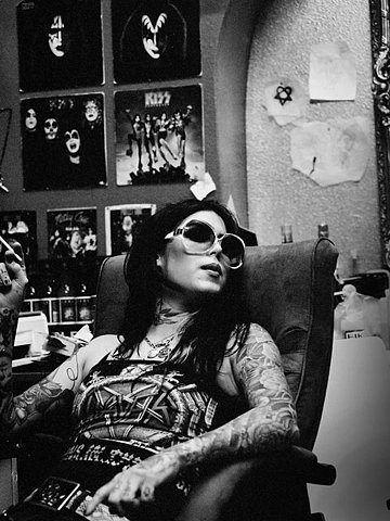 kat von d, tattoo, and black and white image