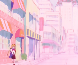 anime, pink, and scenery image