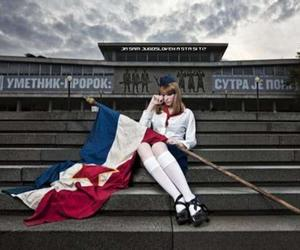 Belgrade, cry, and flag image