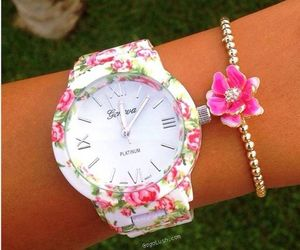 flowers, watch, and pink image
