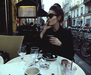 smoke, cigarette, and coffee image