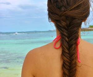 beach, long hair, and red image