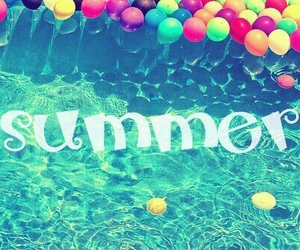 summer, balloons, and pool image