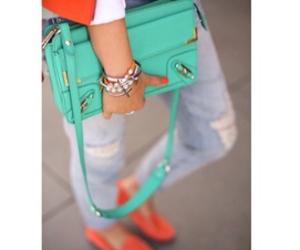 aqua, bag, and blazer image