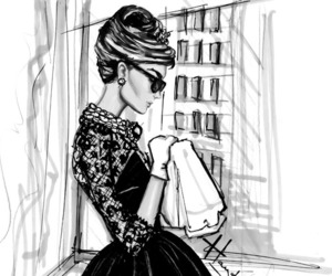 audrey hepburn, drawing, and black and white image