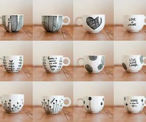 black & white, handmade, and mug image