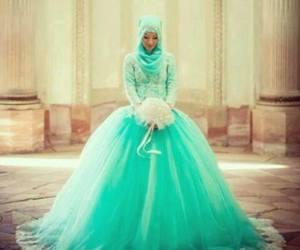 hijab, dress, and wedding image