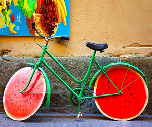 watermelon, bike, and red image