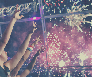 fireworks, party, and music image