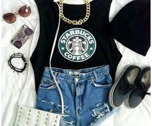 outfit, starbucks, and clothes image