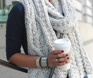 fashion, scarf, and coffee image