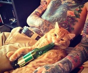 tattoo, cat, and beer image