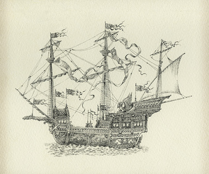 antique, drawing, and ship image
