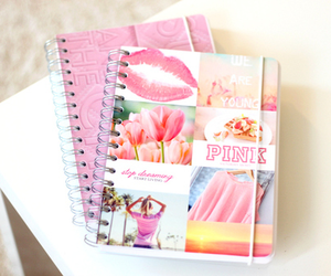 pink, notebook, and girly image
