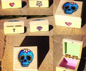 candy skull, cross, and diamond image