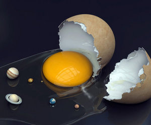 planet, egg, and universe image
