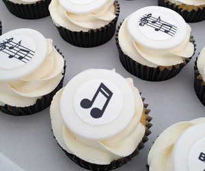 black, cupcake, and music image