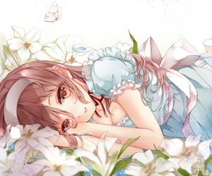 anime, cute, and flowers image