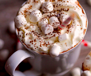 winter, marshmallow, and food image