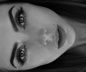 beautiful, black and white, and eyes image