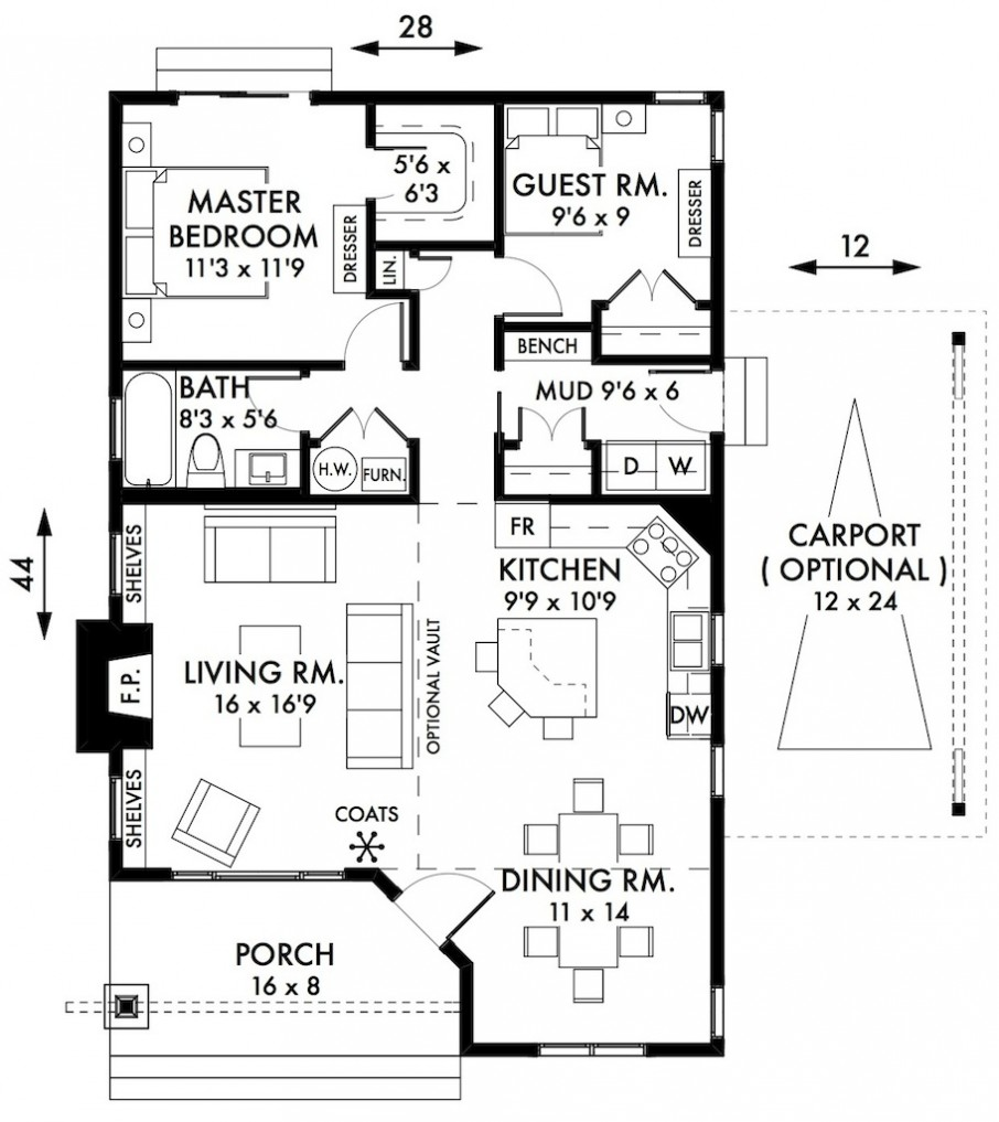 Minimalist Two Bedroom House Plans Idea Drawn Efficiently With