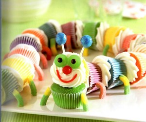cupcake, food, and caterpillar image