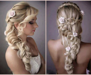 blond, braided, and flowers image