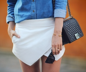 chanel bag, denim, and outfit image