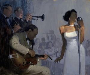 black man, black woman, and glamour image