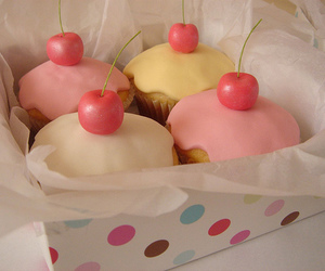 cupcake, pastel colour, and cherries image