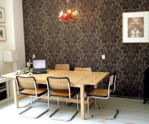 room, wallpaper, and furniture image