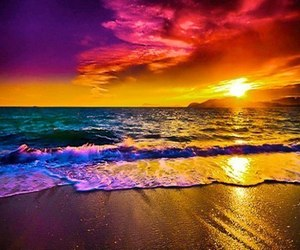 beach, sunset, and sun image