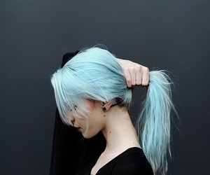 blue hair, girl, and human image