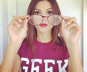 victoria justice, geek, and glasses image