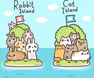 rabbit, cat, and kawaii image