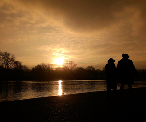 Hyde Park, london, and sunset image