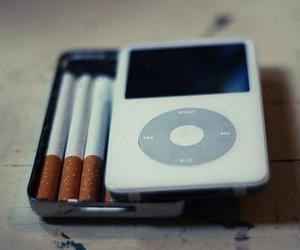 cigarette, ipod, and smoke image