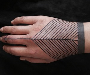 tattoo, hand, and lines image