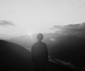 black and white, boy, and light image